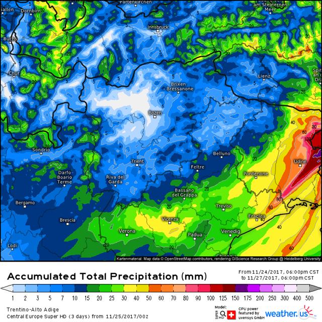 Cartina Veneto E Friuli.Meteo Trentino Alto Adige Veneto E Friuli Venezia Giulia Neve Pioggia Nei Prossimi Giorni Mappa Notizie Meteo Di Tempo Italia